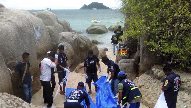 The murders took place on a beach on Koh Tao island in southern Thailand. Picture: EPA/STR THAILAND OUT
