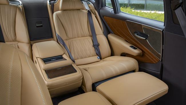 The passenger side back seat can combine an ottman.
