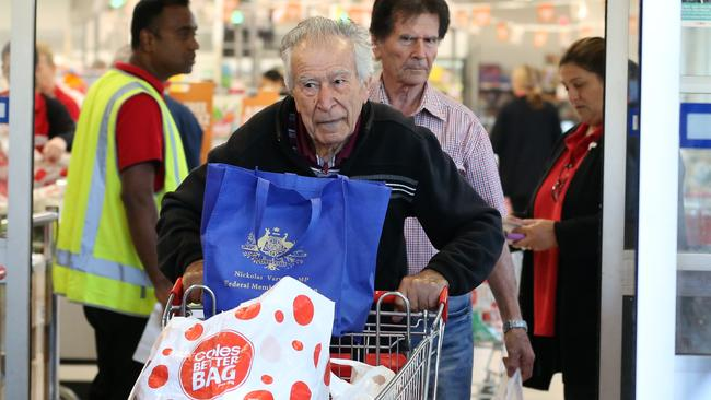 Coles introduced a community hour for the elderly and disabled after panic-buying saw shelves stripped bare. Picture: Danny Casey/AFP
