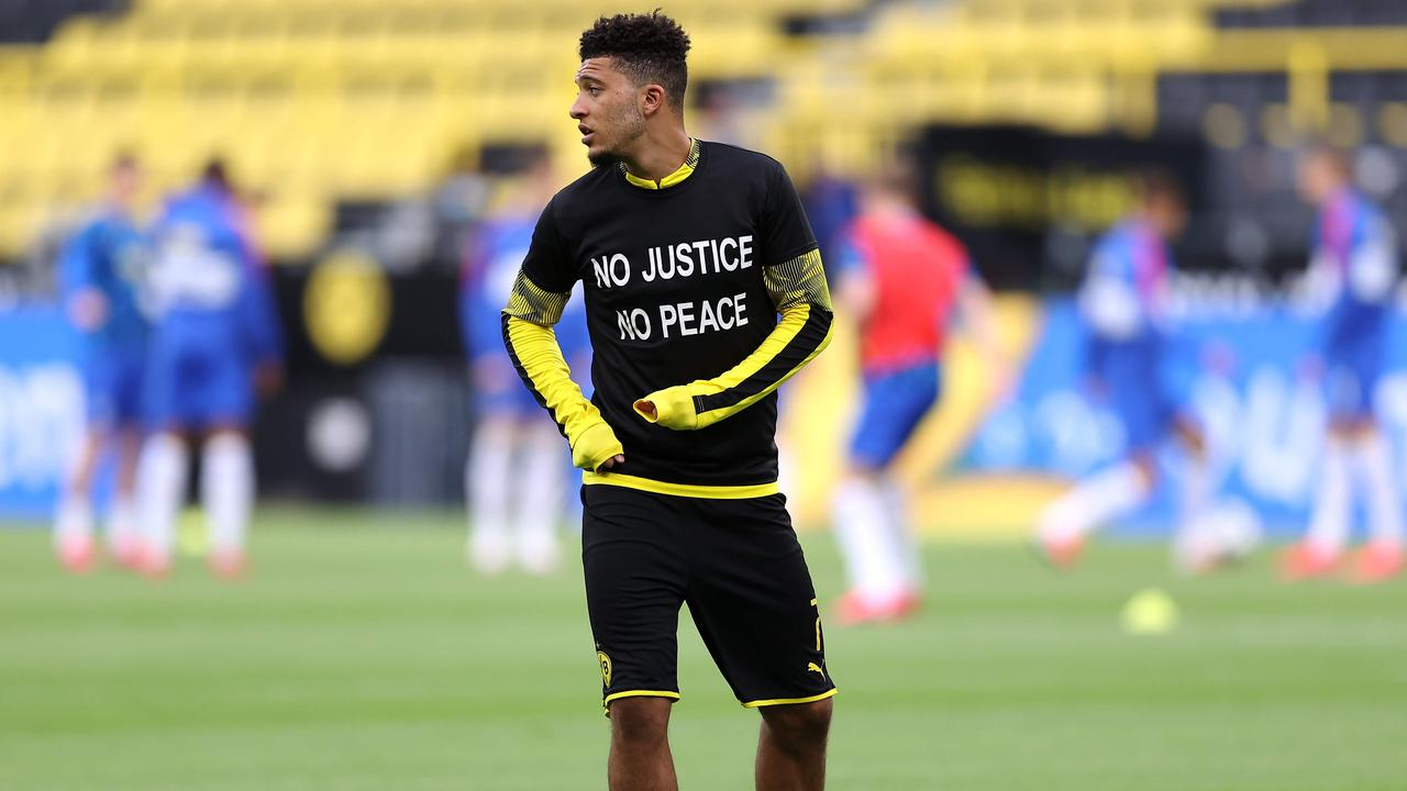 Sancho is eyeing a Premier League move. (Photo by Lars BARON / POOL / AFP)