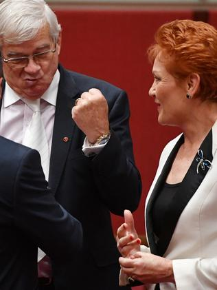 Ms Hanson looks on as Mr Burston gives Senator Peter Georgiou a fist pump after his maiden speech in Canberra in 2017. Picture: AAP/Mick Tsikas