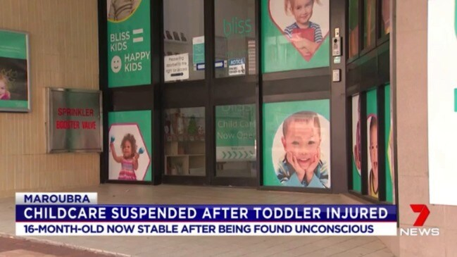 Daycare centre shuts down after toddler falls unconscious (Seven)