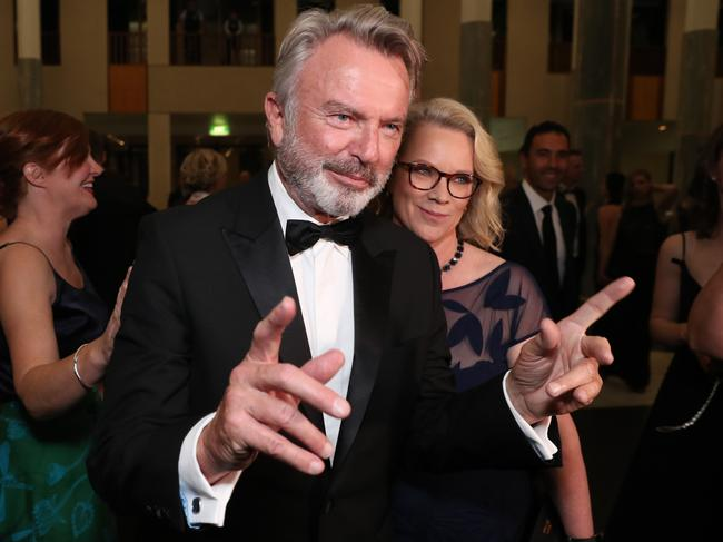 Actor Sam Neill with his partner Laura Tingle. Pic: Gary Ramage
