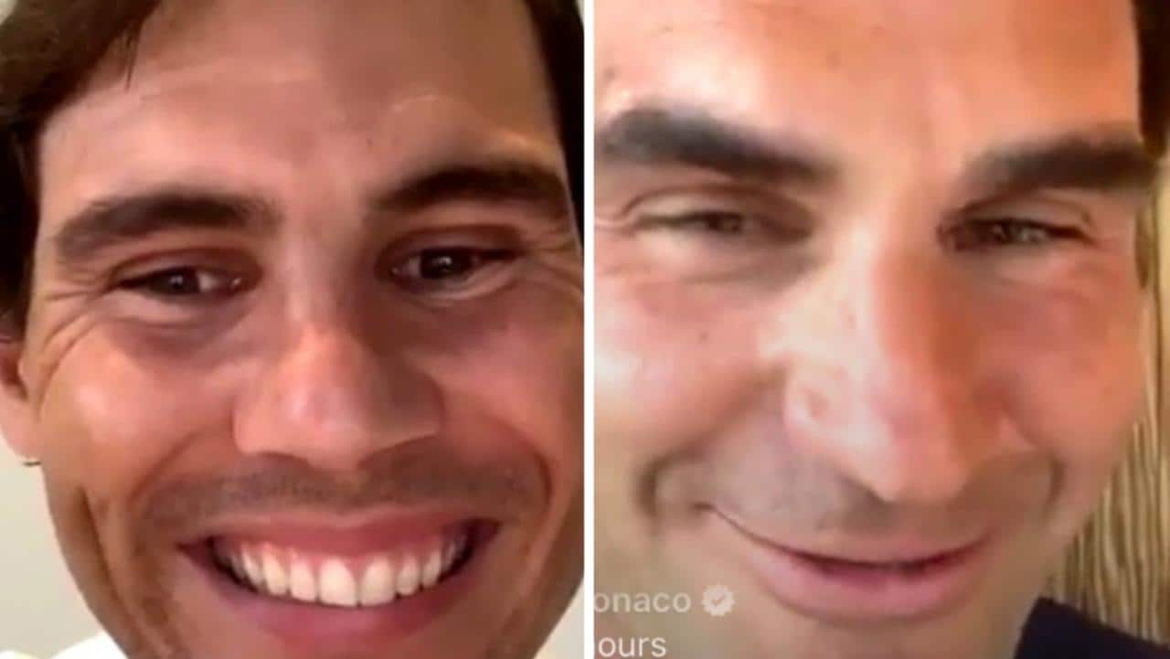 Rafael Nadal Roger Federer Instagram Live Chat Video Tennis Legends In Hilarious Moment Andy Murray Fox Sports