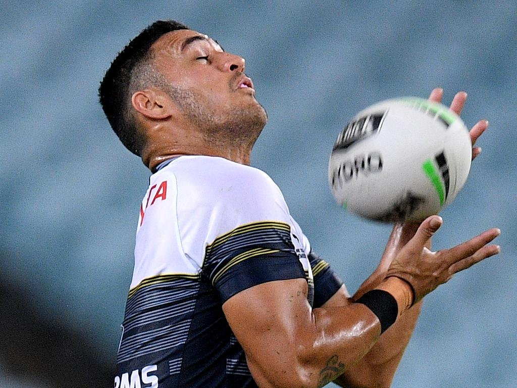 Valentine Holmes of the Cowboys takes a high ball during the round two NRL match between the Canterbury-Bankstown Bulldogs and North Queensland Cowboys at ANZ Stadium, in Sydney, Thursday, March 19, 2020. (AAP Image/Dan Himbrechts) NO ARCHIVING, EDITORIAL USE ONLY