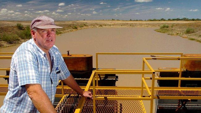 Managing director John Grabbe at the main water gates of Cubbie Station, Australia's largest cotton operation, near Dirranbandi, in 2006. Picture: David Sproule