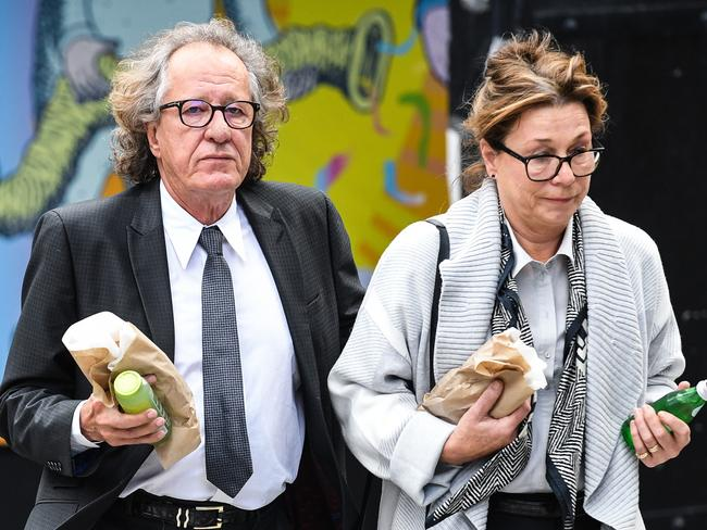 Geoffrey Rush during a court break. Picture: AAP