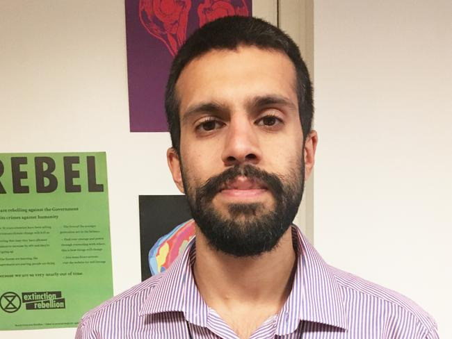"Vishal said he believes protesting is part of a ""duty of care"" to patients. Picture: Victoria Craw/News.com.au"