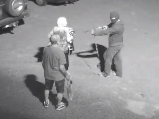 An elderly man confronts a man with a shotgun in Sunshine last year. Picture: Victoria Police