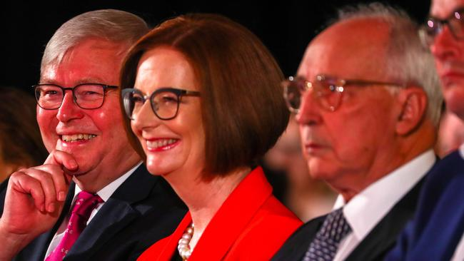 Kevin Rudd, Julia Gillard and Paul Keating playing nice at the campaign launch. Picture: AFP/Patrick Hamilton