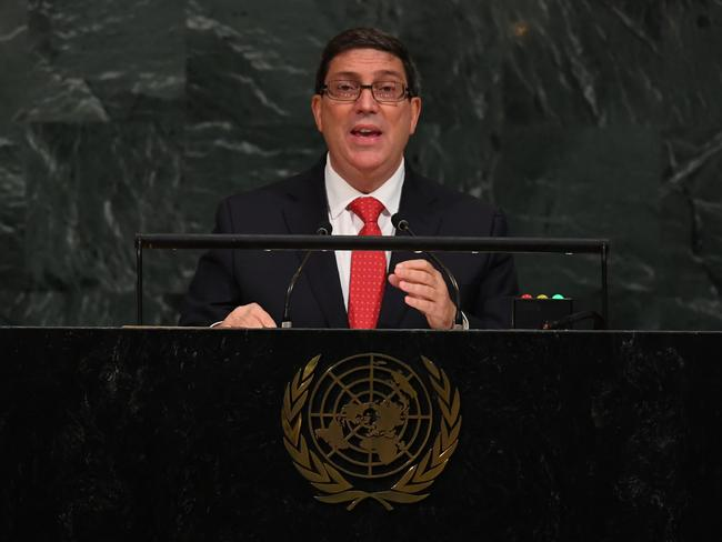 Cuba Foreign Minister Bruno Rodriguez told the UN last week that he has no idea how Americans are being harmed. Picture: AFP