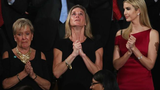 Carryn Owens looking to the heavens in tribute to her fallen husband. Pic: Getty/AFP