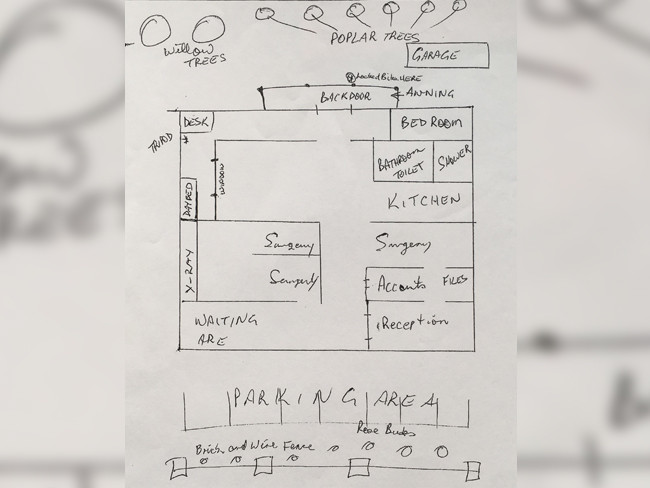 Philip Wright recalls the layout of the Barney Street in a sketch for the investigation.