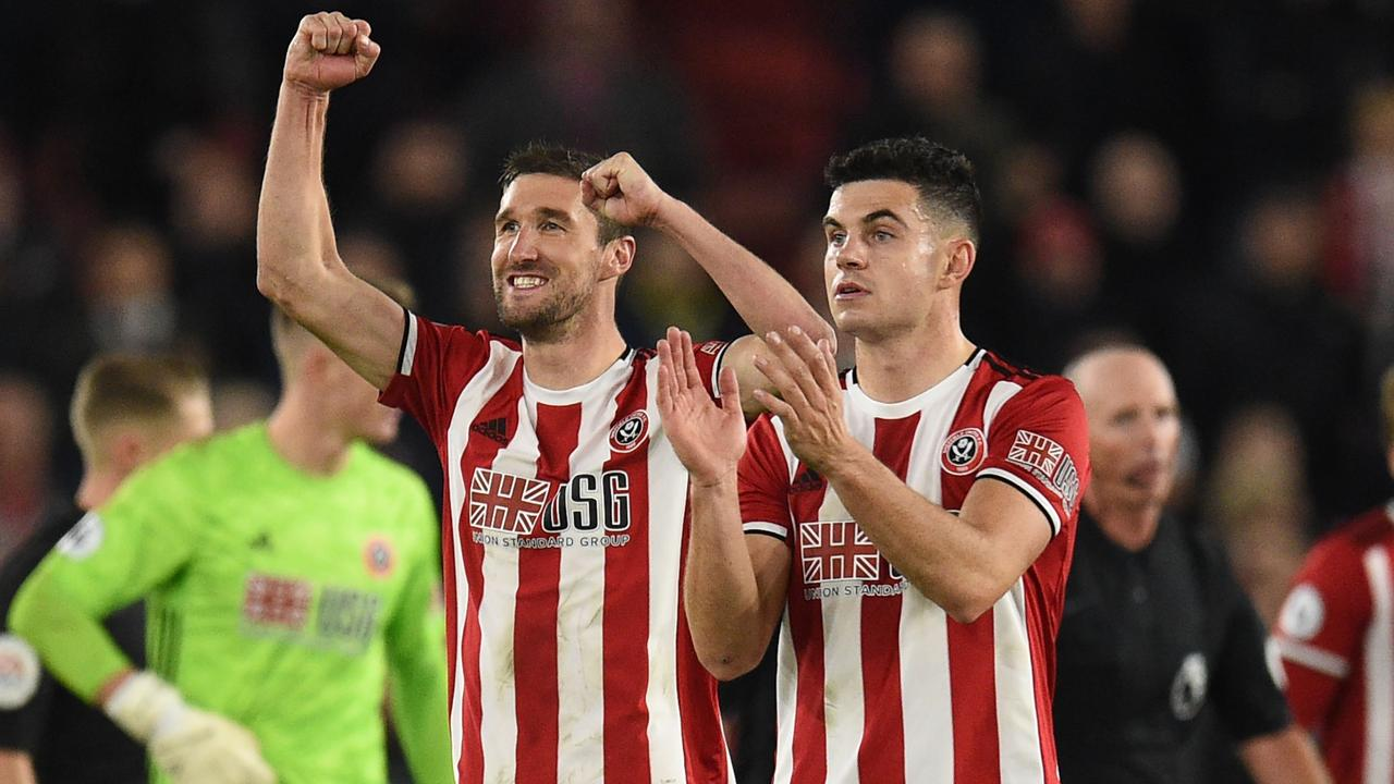 Sheffield United celebrate a shock upset of Arsenal.