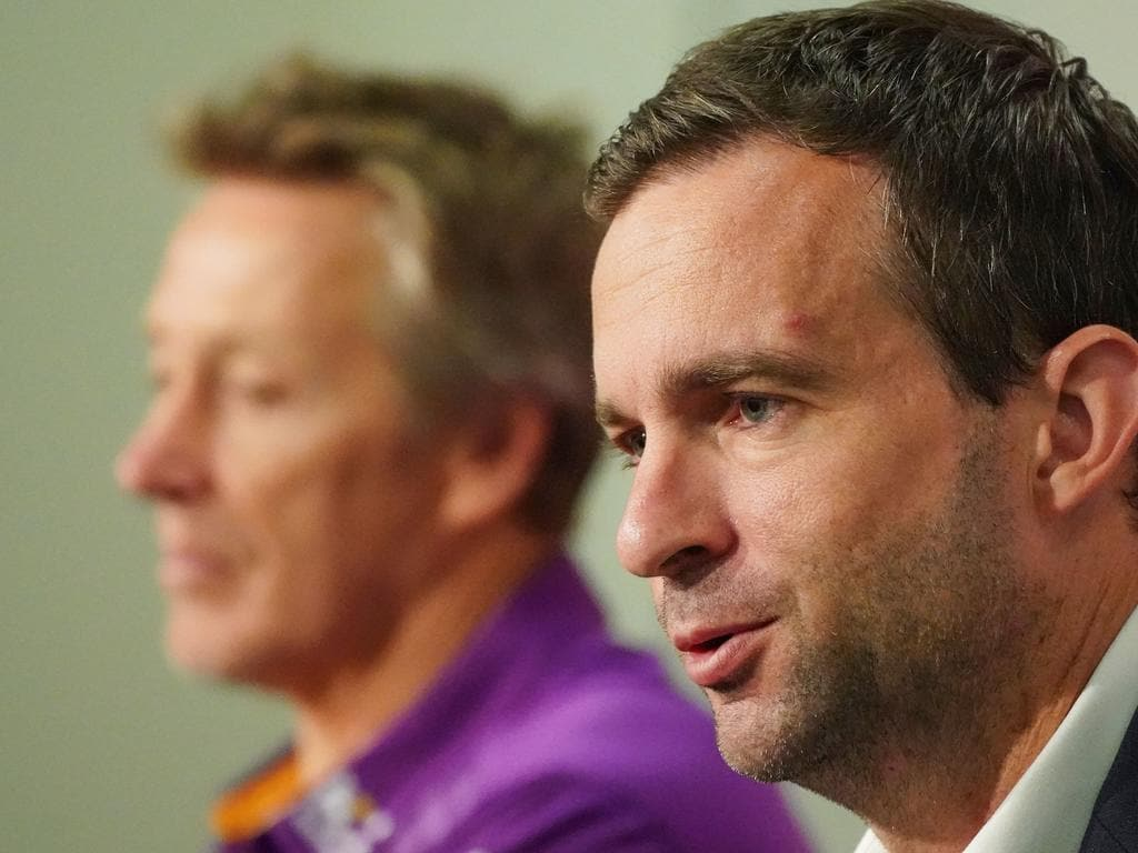 Melbourne Storm CEO Dave Donaghy and Melbourne Storm coach Craig Bellamy speak to the media during an NRL press conference at AAMI Park in Melbourne, Tuesday, March 24, 2020. The NRL has suspended the 2020 premiership as a result of the coronavirus pandemic. (AAP Image/Scott Barbour) NO ARCHIVING