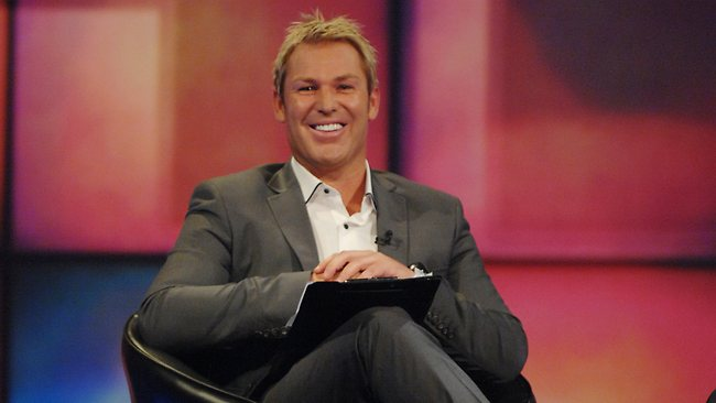 Cricket legend Shane Warne on set of his TV chat show, Warnie, which flopped. Picture: Channel Nine