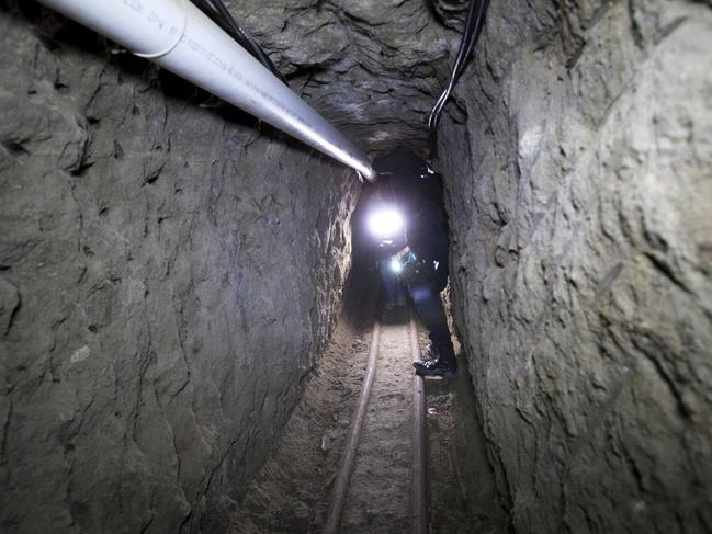 A tunnel through which Guzman allegedly made his escape from the Altiplano maximum security prison in Almoloya, west of Mexico City, in July 2015. Picture: AP Photo/Marco Ugarte