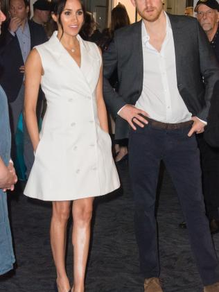 Meghan looked adorable in this white dress, even though it was a protocol line ball. Source: Getty Images
