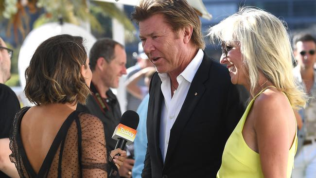 Brooke Boney's (at left) first gig — interviewing Richard Wilkins. Picture: AAP