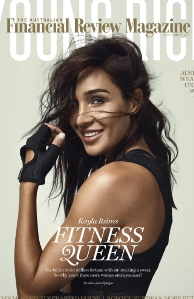 Kayla Itsines and her fiance Tobi Pearce, 26, took out fifth and sixth place in the 2018 Financial Review Young Rich list, thanks to their combined wealth of $486 million. Picture: Australian Financial Review Magazine