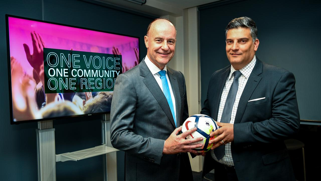 Co-Chairman of the combined United For Macarthur and South West Sydney FC A-League bid Chris Redman (left) and Gino Marra (right) pose for a photo