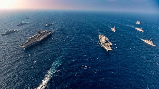 India, Australia, Japan and the United States started the second phase of the Malabar naval exercise in the Arabian Sea in November 2020. Picture: Indian Navy/AFP