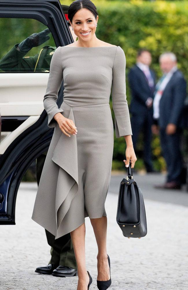 The Duchess of Sussex wearing Roland Mouret and a Fendi bag. Picture: MEGA TheMegaAgency.com