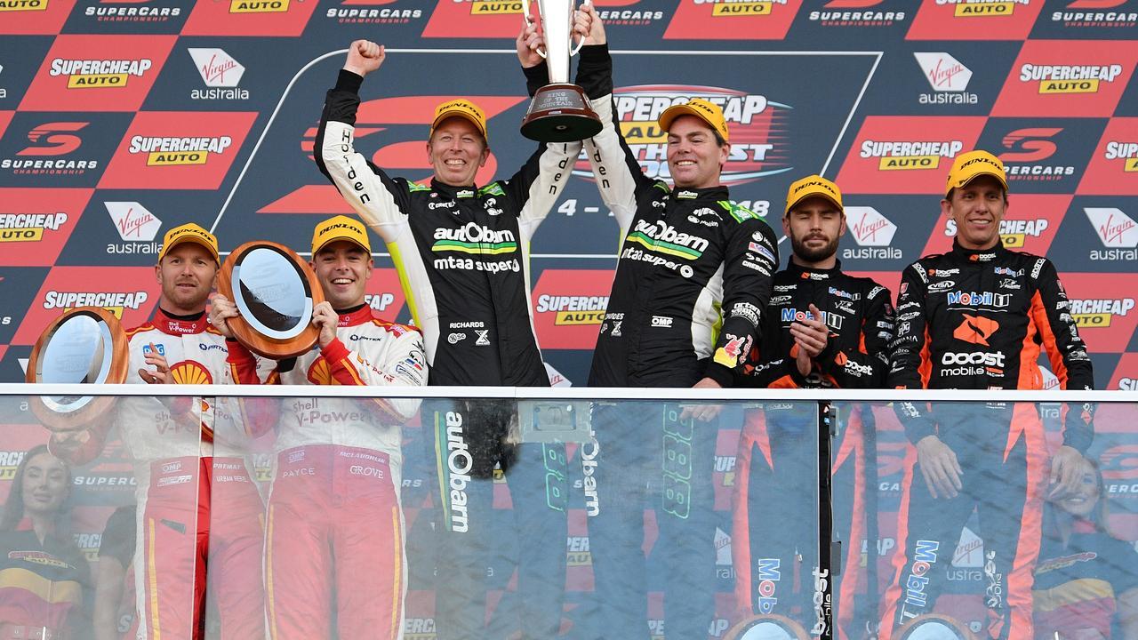 (Second left) Championship leader Scott McLaughlin has one Bathurst podium in seven starts. Picture: Daniel Kalisz