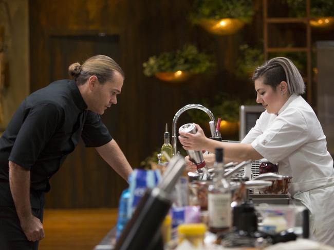 MasterChef contestant Eloise Praino gets a kindly word of advice from Vue de Monde owner and chef Shannon Bennett. Picture: Channel 10