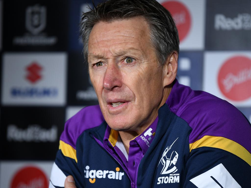Storm coach Craig Bellamy speaks to media during the Round 7 NRL between Melbourne Storm and New Zealand Warriors at Netsrata Jubilee Stadium in Sydney, Friday, June 26, 2020. (AAP Image/Joel Carrett) NO ARCHIVING, EDITORIAL USE ONLY