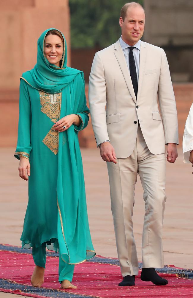 The Duke and Duchess of Cambridge at the historical Badshahi mosque. Picture: Chris Jackson/Getty Images