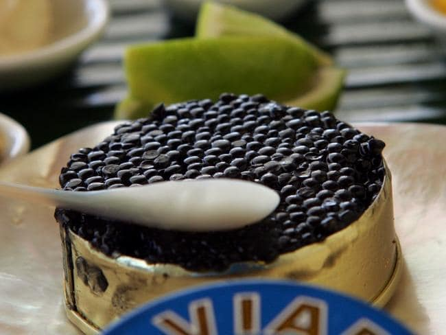 Sturgeon caviar — well, we think it is anyway. We've never had the privilege of being in its presence before.