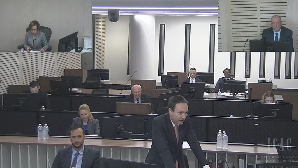 Daryl Maguire, top right corner, gave evidence before ICAC on Wednesday.