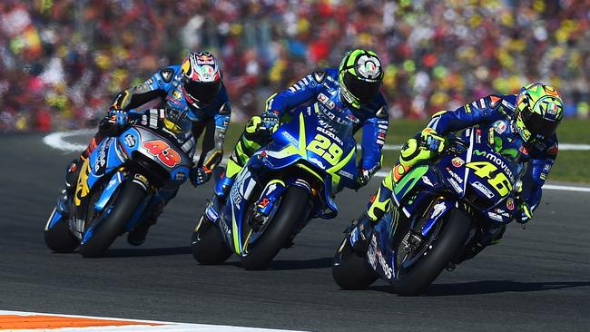 Miller battled Rossi and Iannone for fifth at Valencia. Pic: Michelin.