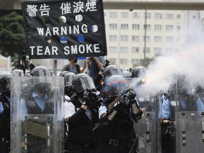 The brutal response from police is one that hasn't been seen in years. Picture: Vincent Yu/AP