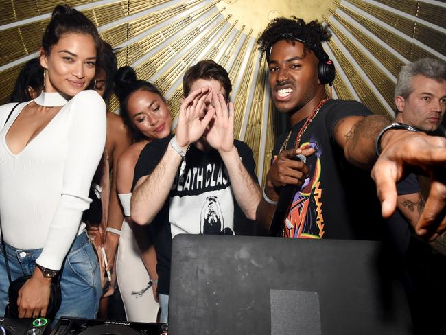(L-R) Model Shanina Shaik with DJ Ruckus. Picture: Getty