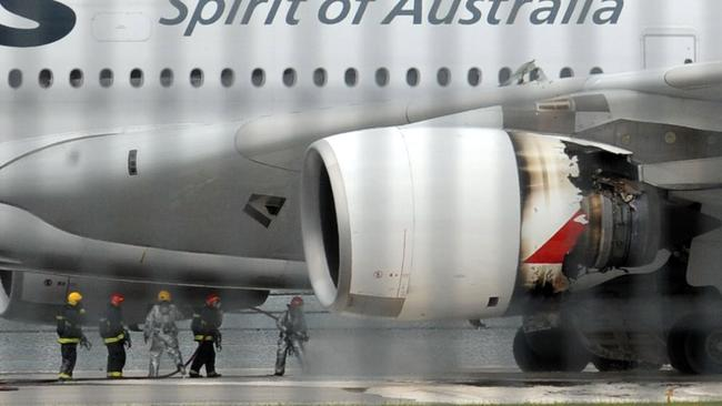 The extent of the engine damage was obvious after the emergency landing. Picture: AFP