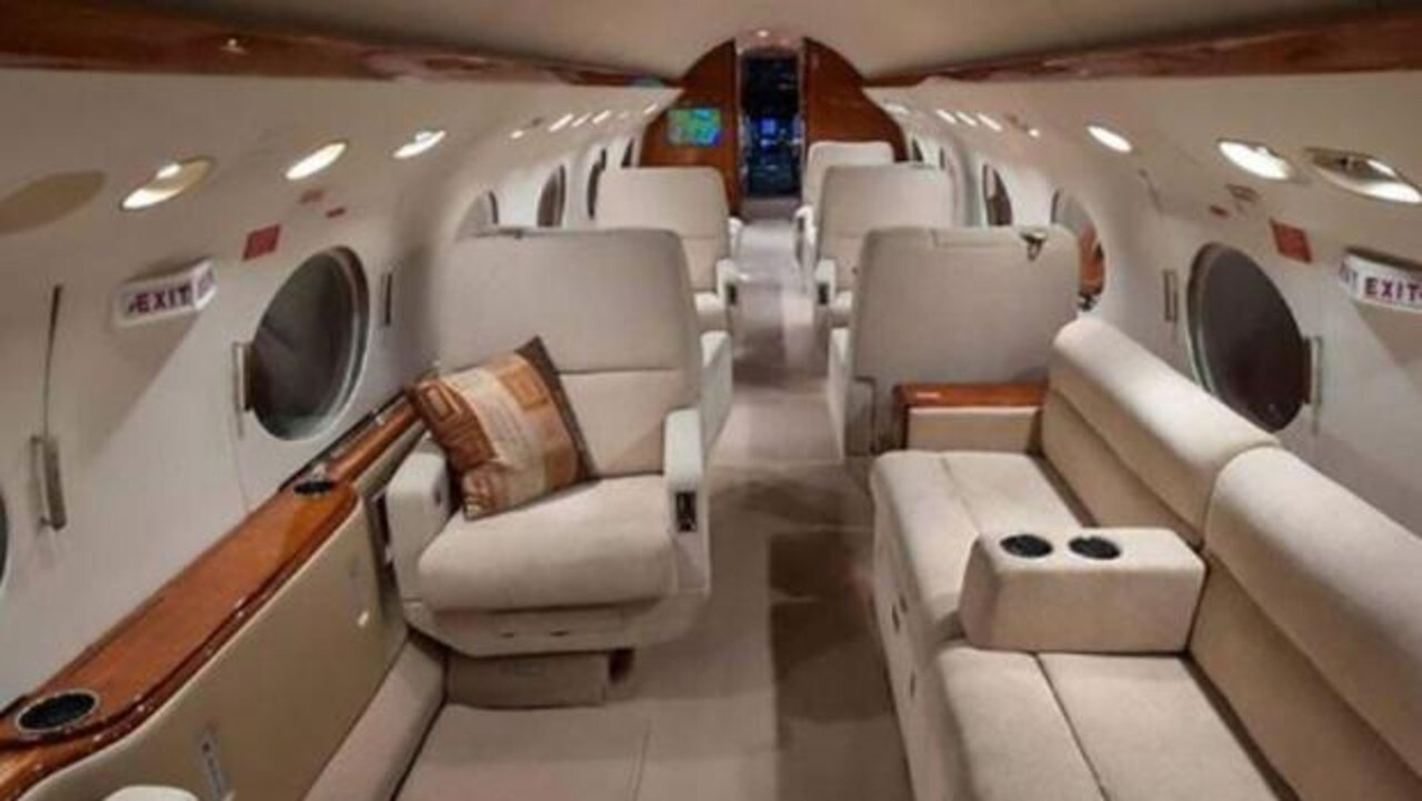 The jet features 16 seats that can be turned into eight beds.