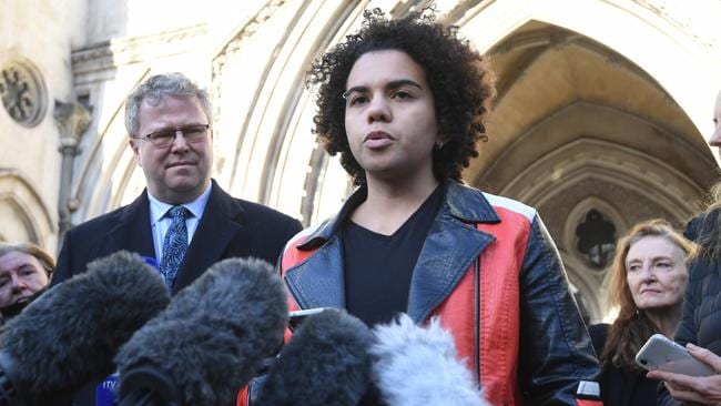 Keira Bell speaks to reporters outside the Royal Courts of Justice in London on December 1. Picture: Facundo Arrizabalaga/EPA