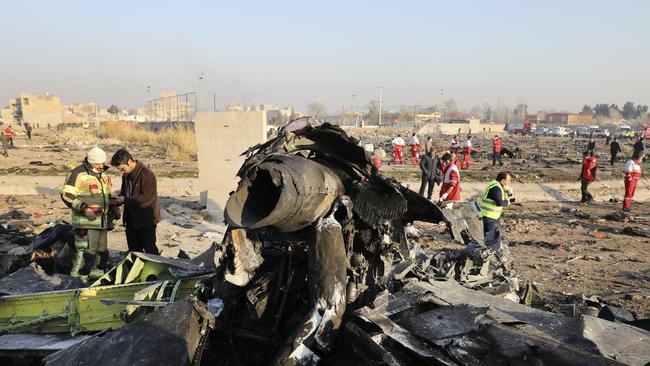 Debris at the scene where a Ukrainian plane crashed in Shahedshahr, southwest of the Iranian capital Tehran. Picture: AP /Ebrahim Noroozi