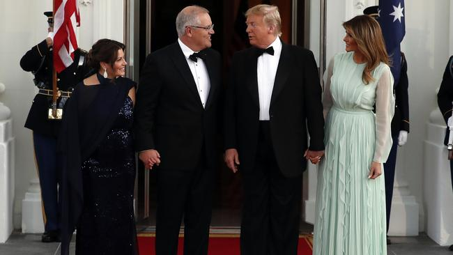 Here they all are as ScoMo and Jennifer arrive just before entering the White House for the Australian-themed State Dinner. Picture: AP Photo/Alex Brandon.