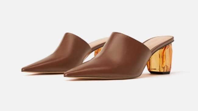 Zara Geometric Heel Leather Mules $139. Image: Zara