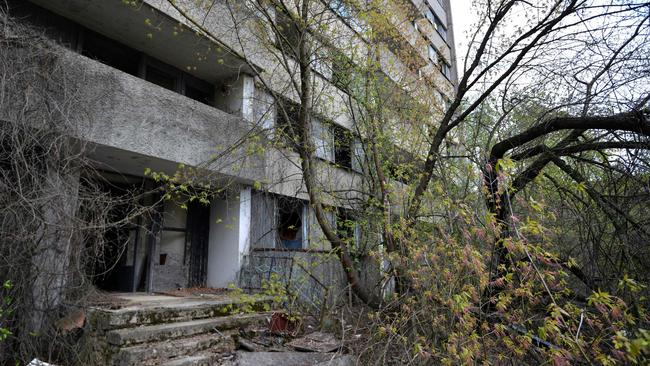 A deserted residential building in the 'ghost town' of Pripyat near the Chernobyl Nuclear Power Plant. Picture: AFP/Genya Savilov