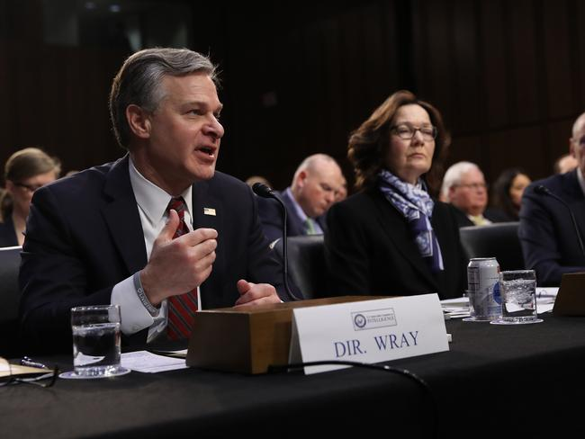 "FBI Director Christopher Wray; CIA Director Gina Haspel; and Director of National Intelligence Dan Coats testify at a Senate Intelligence Committee hearing on ""Worldwide Threats"". Picture: AFP"