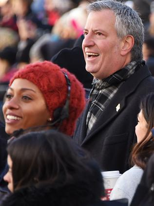 New York City Mayor Bill de Blasio attends the 91st Annual Macy's Thanksgiving Day Parade. Picture: Getty