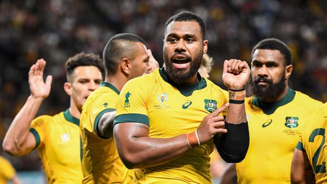 Samu Kerevi celebrates scoring a try for the Wallabies. Picture: AFP