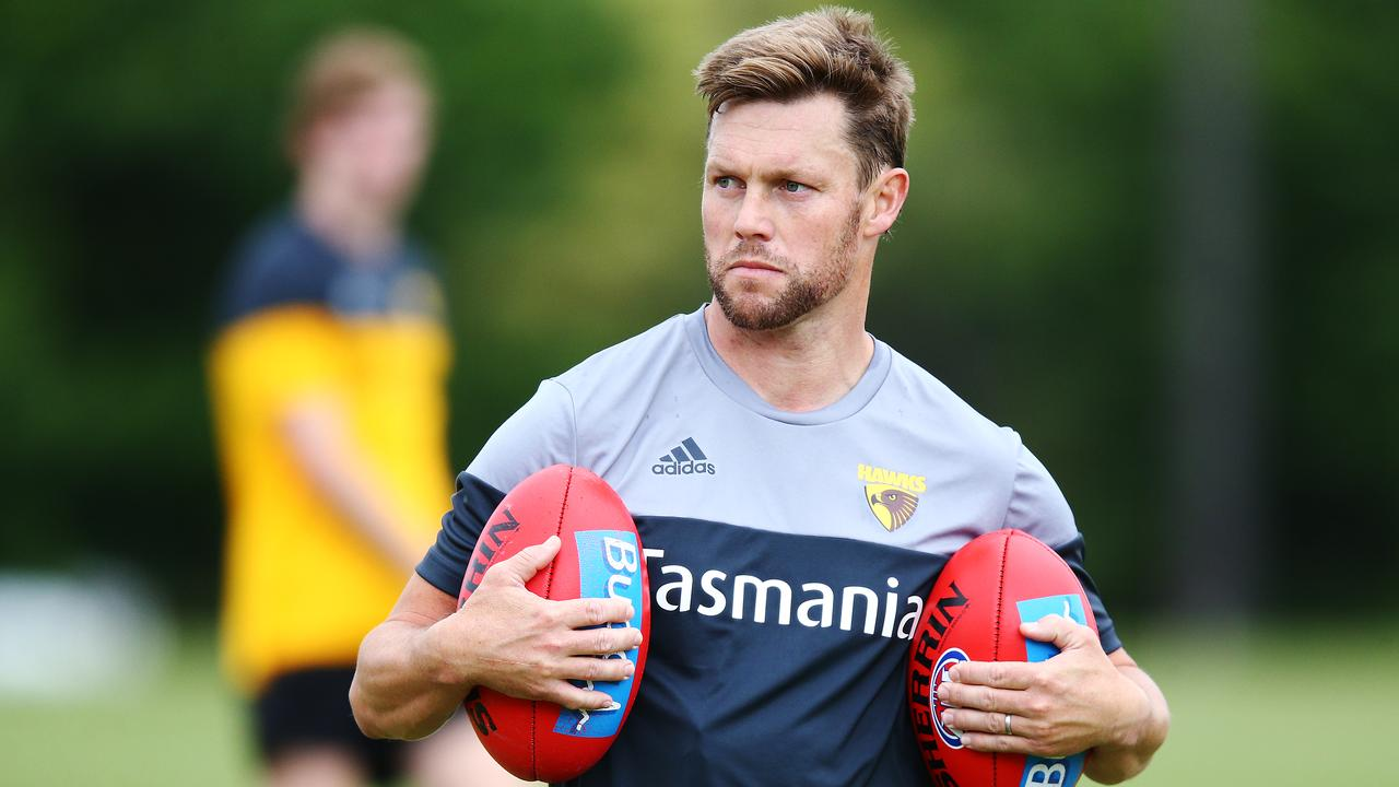 New Hawks assistant coach Sam Mitchell during a training session this pre-season.