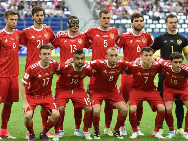 Russia poses for a photo before a game at the Confederations Cup this month. Source:  <i>AFP</i>