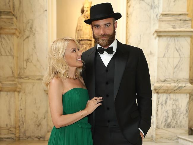 Kylie Minogue and Joshua Sasse pictured at the One For The Boys Fashion Ball in June in London. Picture: Mike Marsland/Mike Marsland/WireImage