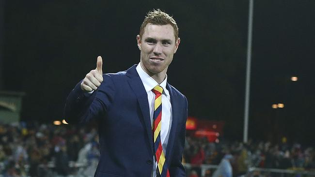 Adelaide's Tom Lynch made an immediate impact upon return. Picture: Sarah Reed